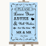 Blue Guestbook Advice & Wishes Gay Customised Wedding Sign
