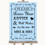 Blue Guestbook Advice & Wishes Lesbian Customised Wedding Sign