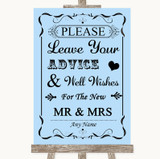 Blue Guestbook Advice & Wishes Mr & Mrs Customised Wedding Sign