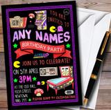 Black Retro Arcade Game Customised Children's Birthday Party Invitations