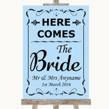 Blue Here Comes Bride Aisle Sign Customised Wedding Sign