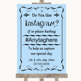 Blue Instagram Photo Sharing Customised Wedding Sign