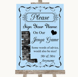 Blue Jenga Guest Book Customised Wedding Sign