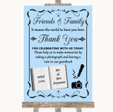 Blue Photo Guestbook Friends & Family Customised Wedding Sign