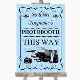 Blue Photobooth This Way Left Customised Wedding Sign