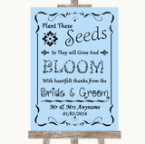 Blue Plant Seeds Favours Customised Wedding Sign