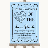 Blue Puzzle Piece Guest Book Customised Wedding Sign