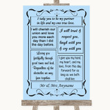 Blue Romantic Vows Customised Wedding Sign