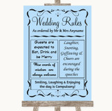 Blue Rules Of The Wedding Customised Wedding Sign