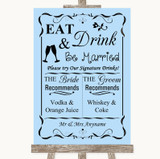 Blue Signature Favourite Drinks Customised Wedding Sign