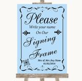 Blue Signing Frame Guestbook Customised Wedding Sign