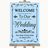Blue Welcome To Our Wedding Customised Wedding Sign