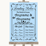 Blue Who's Who Leading Roles Customised Wedding Sign