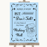 Blue Wishing Well Message Customised Wedding Sign