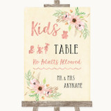 Blush Peach Floral Kids Table Customised Wedding Sign