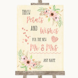Blush Peach Floral Petals Wishes Confetti Customised Wedding Sign