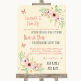 Blush Peach Floral Photo Guestbook Friends & Family Customised Wedding Sign