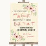 Blush Peach Floral Photo Prop Guestbook Customised Wedding Sign