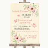 Blush Peach Floral Pick A Prop Photobooth Customised Wedding Sign