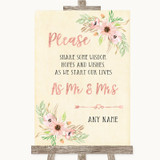 Blush Peach Floral Share Your Wishes Customised Wedding Sign