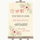 Blush Peach Floral Social Media Hashtag Photos Customised Wedding Sign
