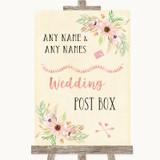 Blush Peach Floral Card Post Box Customised Wedding Sign