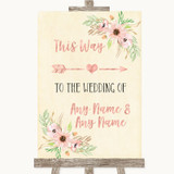 Blush Peach Floral This Way Arrow Right Customised Wedding Sign