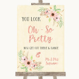 Blush Peach Floral Toilet Get Out & Dance Customised Wedding Sign