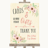 Blush Peach Floral Cards & Gifts Table Customised Wedding Sign