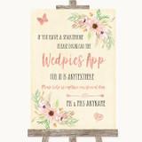 Blush Peach Floral Wedpics App Photos Customised Wedding Sign
