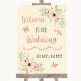 Blush Peach Floral Welcome To Our Wedding Customised Wedding Sign