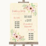 Blush Peach Floral Who's Who Leading Roles Customised Wedding Sign