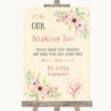 Blush Peach Floral Wishing Tree Customised Wedding Sign