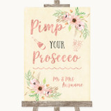 Blush Peach Floral Pimp Your Prosecco Customised Wedding Sign