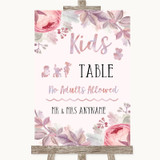 Blush Rose Gold & Lilac Kids Table Customised Wedding Sign