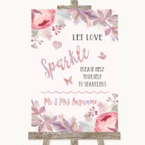 Blush Rose Gold & Lilac Let Love Sparkle Sparkler Send Off Wedding Sign