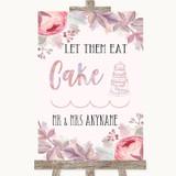 Blush Rose Gold & Lilac Let Them Eat Cake Customised Wedding Sign