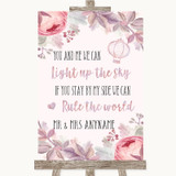 Blush Rose Gold & Lilac Light Up The Sky Rule The World Wedding Sign