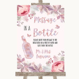 Blush Rose Gold & Lilac Message In A Bottle Customised Wedding Sign