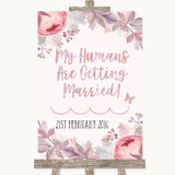 Blush Rose Gold & Lilac My Humans Are Getting Married Customised Wedding Sign