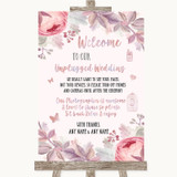 Blush Rose Gold & Lilac No Phone Camera Unplugged Customised Wedding Sign
