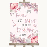 Blush Rose Gold & Lilac Petals Wishes Confetti Customised Wedding Sign