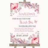 Blush Rose Gold & Lilac Photo Guestbook Friends & Family Wedding Sign