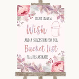 Blush Rose Gold & Lilac Bucket List Customised Wedding Sign