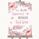 Blush Rose Gold & Lilac Photobooth This Way Right Customised Wedding Sign