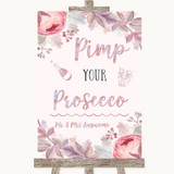 Blush Rose Gold & Lilac Pimp Your Prosecco Customised Wedding Sign