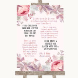Blush Rose Gold & Lilac Romantic Vows Customised Wedding Sign