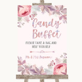 Blush Rose Gold & Lilac Candy Buffet Customised Wedding Sign
