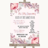Blush Rose Gold & Lilac Rules Of The Dance Floor Customised Wedding Sign