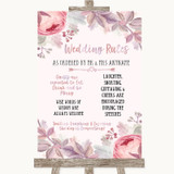 Blush Rose Gold & Lilac Rules Of The Wedding Customised Wedding Sign